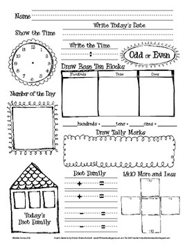 Daily Math and Number of the Day Recording Sheet