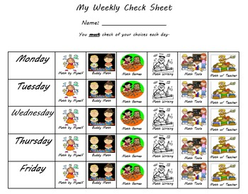 Daily Math checklist