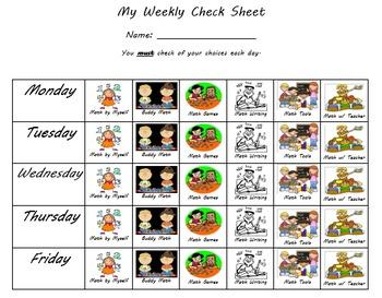 Daily Math checklist