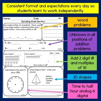 Daily Math for First Grade - Month 5