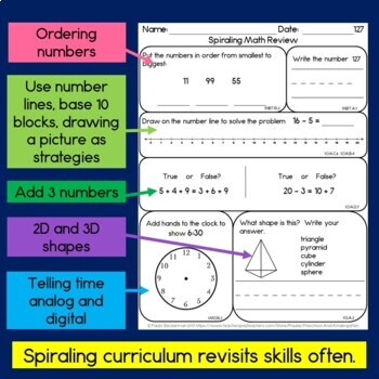 Daily Math for First Grade - Month 7
