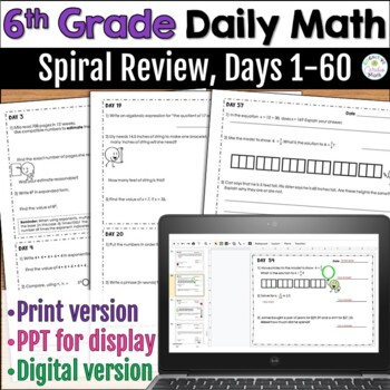 6th Grade Daily Math Warm Ups: Spiral Review, Days 1-60