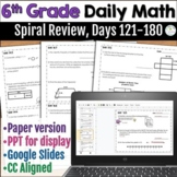 6th Grade Daily Math Warm Ups: Spiral Review, Days 121 - 180