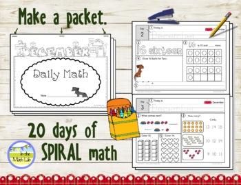 Morning Work Spiral Math   Kindergarten December