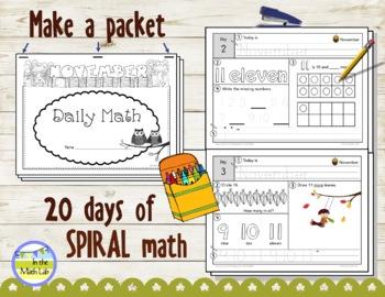 Morning Work Spiral Math   Kindergarten November