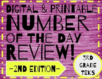 Daily Math: # of the Day Review- 2nd Edition (Digital and Printable)