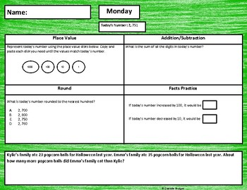 Daily Math: # of the Day Review- 3rd Edition (Digital and Printable)