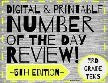 Daily Math: # of the Day Review- 5th Edition (Digital and Printable)
