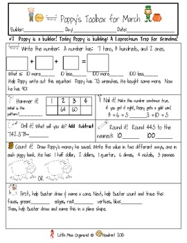 Daily Math with Poppy & Buster's Toolbox & Ma's Creations For: March
