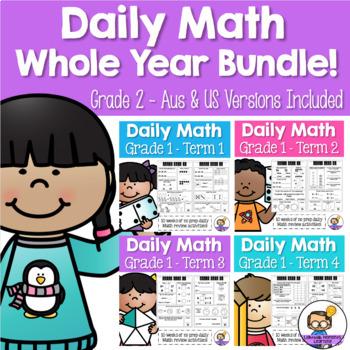 Daily Math Review – Grade 1 WHOLE YEAR BUNDLE! (Aus & US Version)