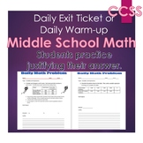 Middle School Daily Math Exit Slip/Warm-Up: Variables and Expressions