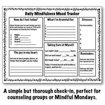 Daily Mindfulness Check-In: Greyscale Mood Tracker, REBT, CBT