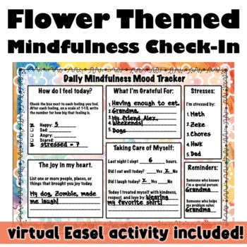 Daily Mindfulness Check-In: Flower Themed Mood Tracker, REBT, CBT