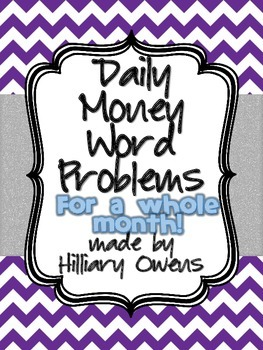 Daily Money Word Problems for a month {1st-3rd grade}