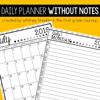 Daily & Monthly Calendar Planner Without Notes