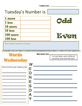Daily Morning Bell Busy Work Packet