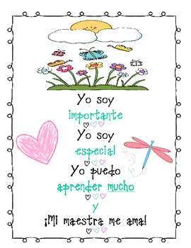 Daily Morning Chant in Spanish (Great to Display on SmartBoard)