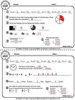 Daily Morning Math Grade 4 {Weeks 9-12}