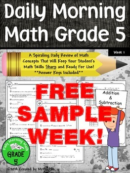 Daily Morning Math Grade 5 FREE Sample Week!