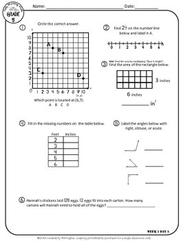 Daily Morning Math Grade 5 FREE Sample Week!