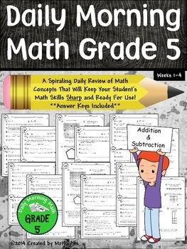 Daily Morning Math Grade 5 {Weeks 1-4}