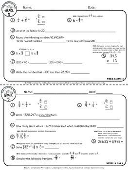 Daily Morning Math Grade 5 {Weeks 13-16}