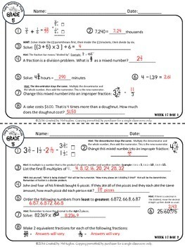 Daily Morning Math Grade 5 {Weeks 17-20}