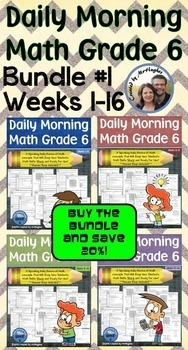 Daily Morning Math Grade 6 Bundle #1 {Weeks 1 -16}