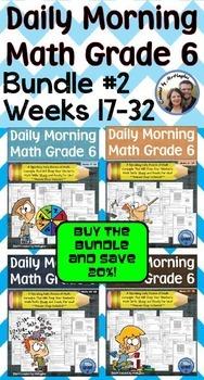 Daily Morning Math Grade 6 Bundle #2 {Weeks 17 -32}