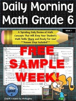 Daily Morning Math Grade 6 FREE Sample Week!