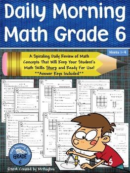 Daily Morning Math Grade 6 {Weeks 1-4}