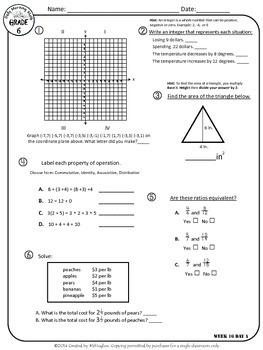 Daily Morning Math Grade 6 {Weeks 13-16}