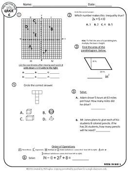 Daily Morning Math Grade 6 {Weeks 17-20}