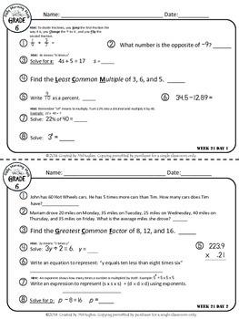 Daily Morning Math Grade 6 {Weeks 21-24}