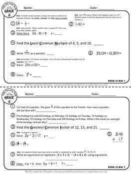 Daily Morning Math Grade 6 {Weeks 25-28}