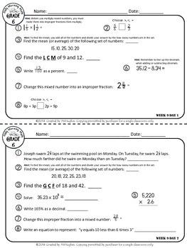 Daily Morning Math Grade 6 {Weeks 9-12}