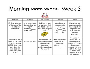 Daily Morning Math Work-Weeks 1-16