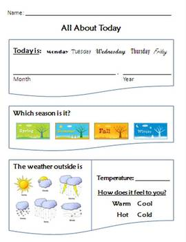 Daily Morning Sheet - Day Month Year Season Weather Temperature - SpEd Autism