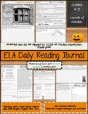 October Daily Morning Work ELA Bell Ringers for Middle School
