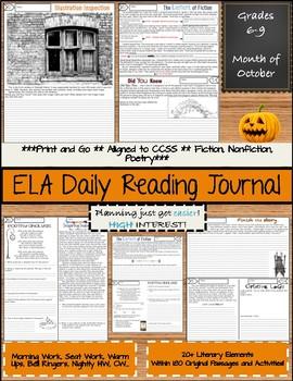 ELA Daily Reading Journal - October - Bell Ringers Morning Work