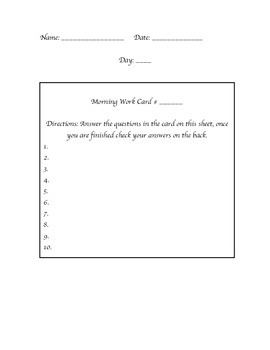 Daily Morning Work Sheet Template