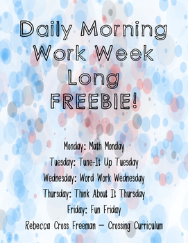 Daily Morning Work Week Long Freebie!
