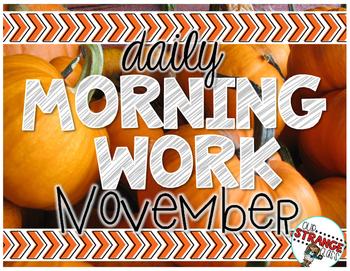 No Prep Morning Work - November
