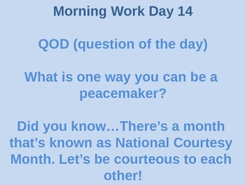 Quarter 1: Question of the Day plus a daily fun fact