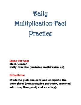 Daily Multiplication Fact Practice