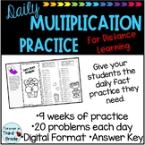 Daily Multiplication Facts - Distance Learning