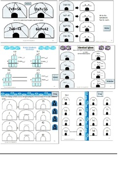 February Daily Multiplication Packets Valentine/Winter Themes