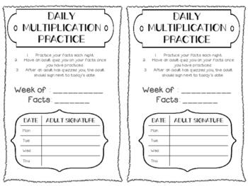 Daily Multiplication Practice Homework Activity