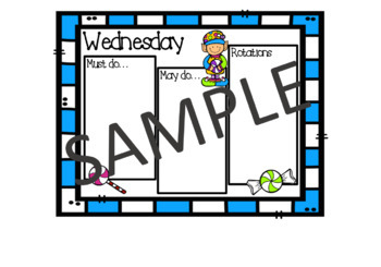 >Editable< Daily Must Do, May Do Sheets - Candy Elves (rotations section)