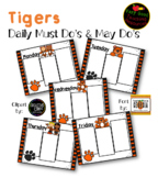 >Editable< Daily Must Do, May Do Sheets - Tigers (3 sections) *No Headings*